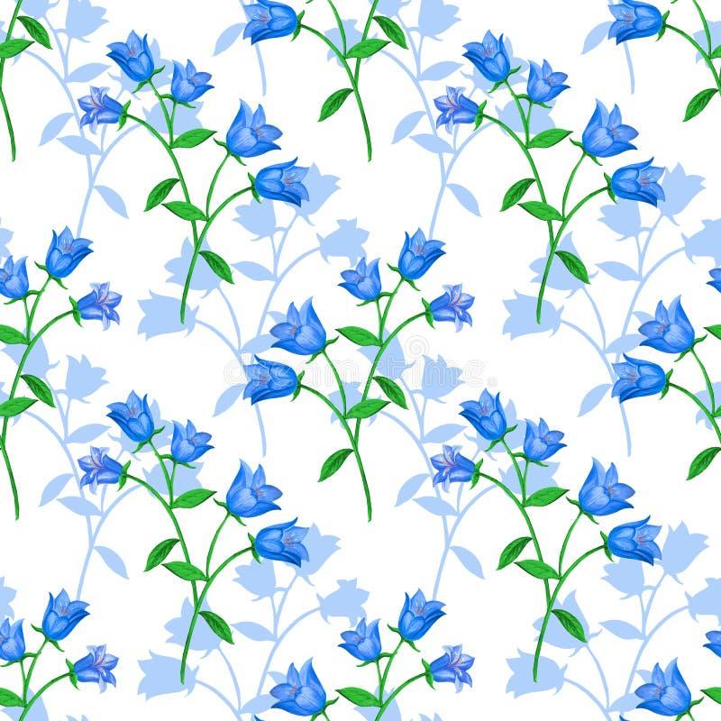Sömlös blom- modell med blåa klockor och blommakonturer på vit bakgrund royaltyfri illustrationer