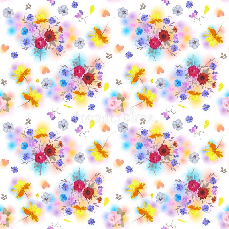 Sömlös blom- modell med buketter av trädgårdblommor, hjärtor och färgrika fläckar i vattenfärgstil Sommartryck f?r tyg vektor illustrationer