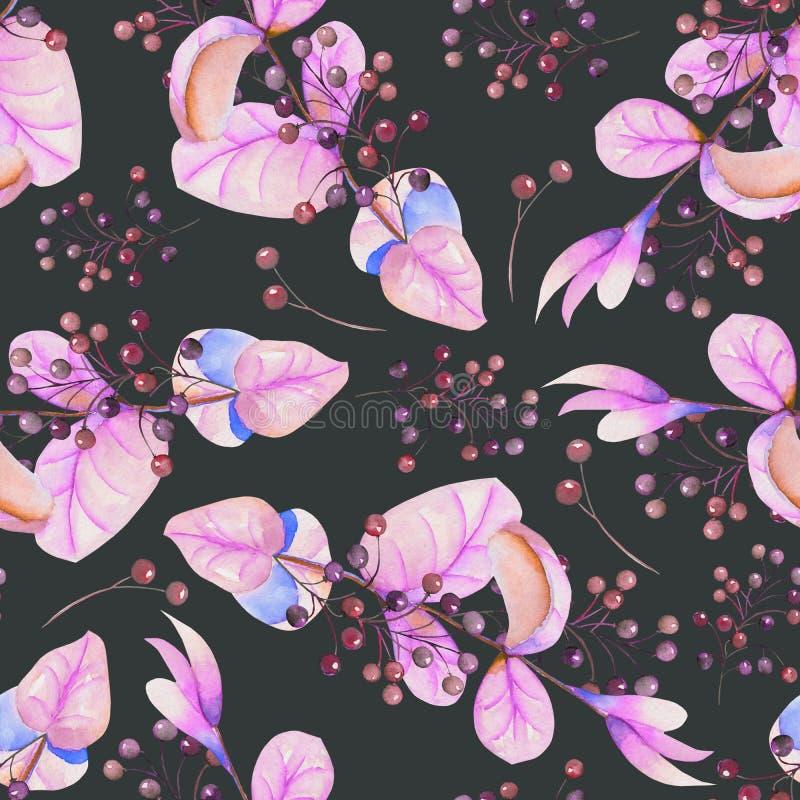 Sömlös blom- modell med de vattenfärglilasidorna och bären på filialerna royaltyfri illustrationer
