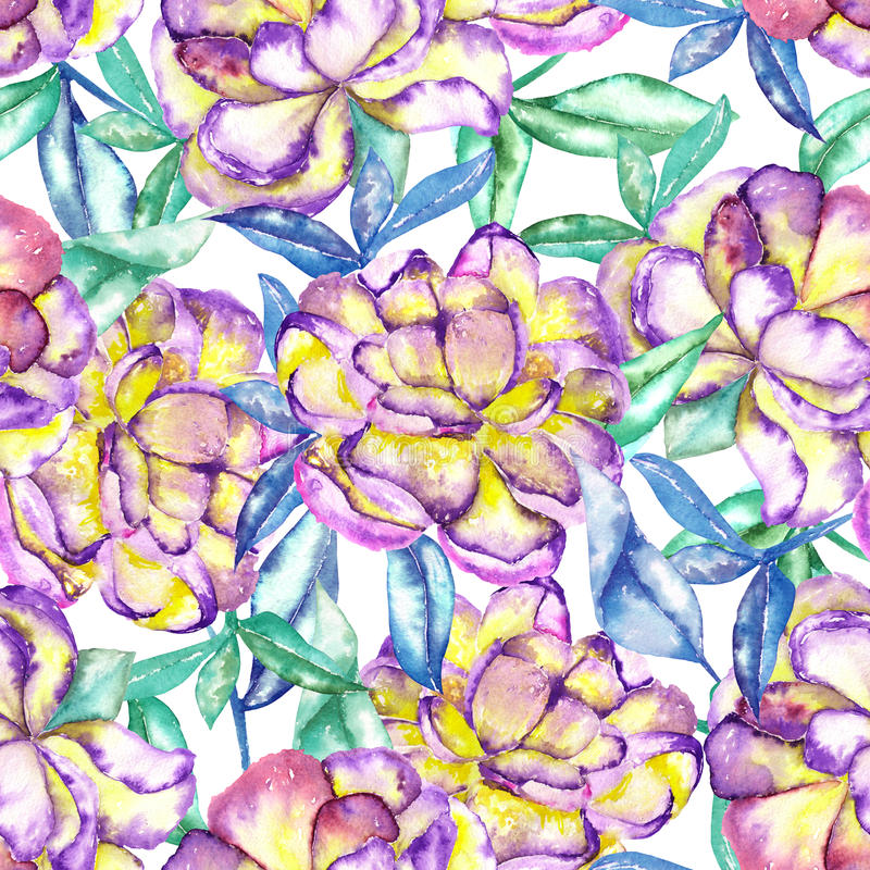 Sömlös blom- modell med de violetta och gula exotiska blommorna för vattenfärg och blått- och gräsplansidor stock illustrationer