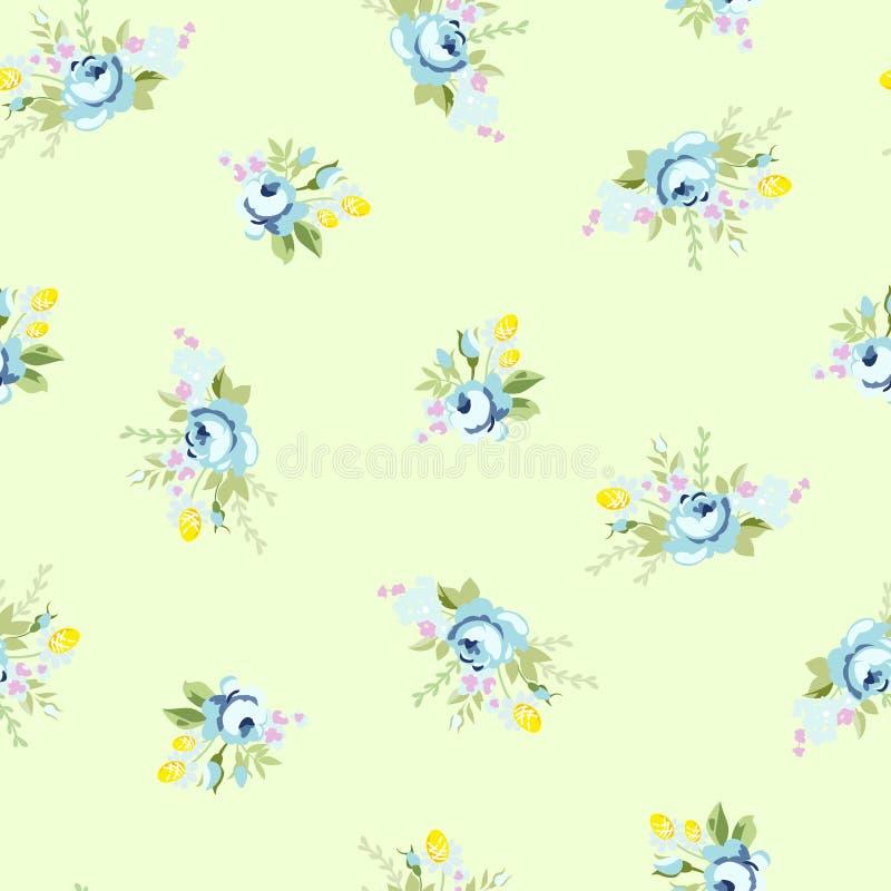 Sömlös blom- modell med den stora och lilla blåttrosen vektor illustrationer