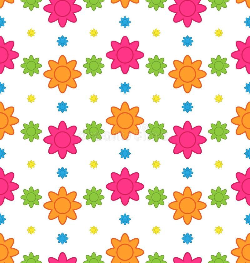 Sömlös blom- modell med färgrika blommor, härlig modell royaltyfri illustrationer