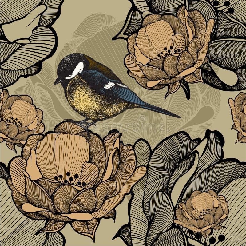 Sömlös blom- modell med fågelmesen också vektor för coreldrawillustration vektor illustrationer