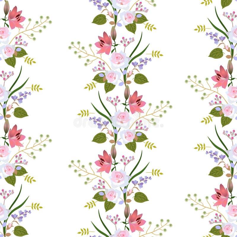 Sömlös blom- modell med girlanden av trädgårdblommor, sidor och filialer islated på vit bakgrund Rosor liljor vektor illustrationer