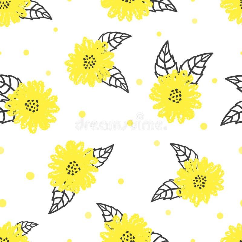 Sömlös blom- modell med gula blommor stock illustrationer