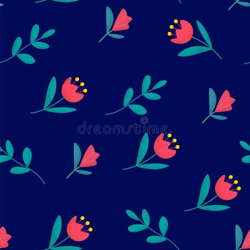 Sömlös blom- modell med gulliga blommor på blå bakgrund Prydnad för textil och inpackning vektor royaltyfri illustrationer