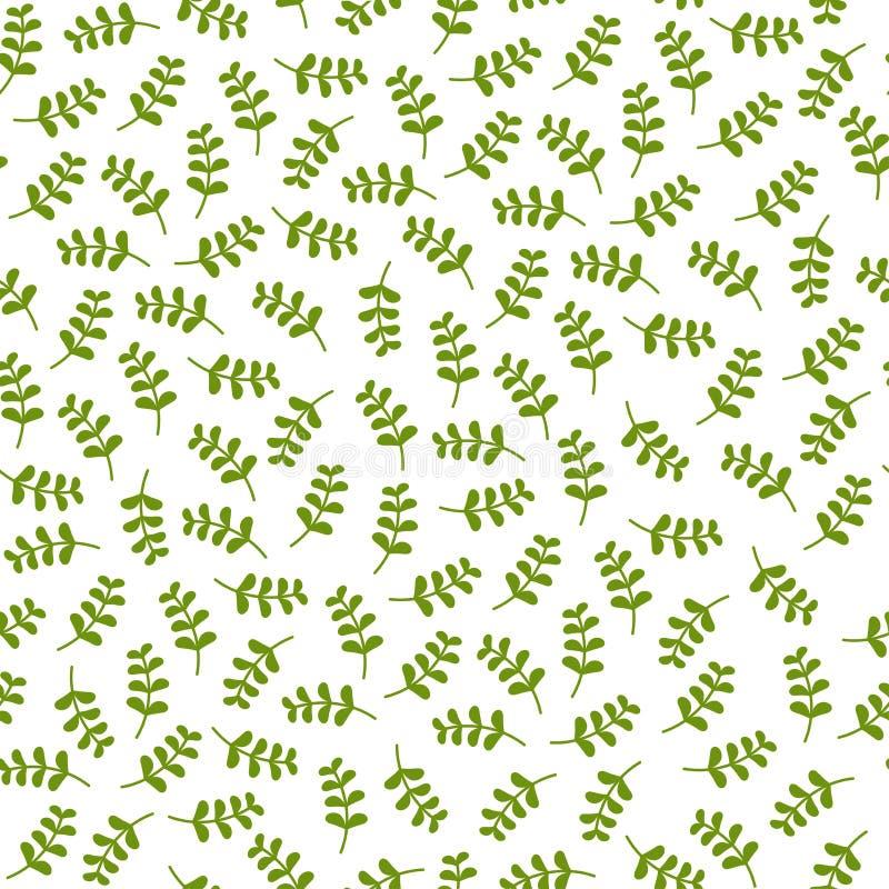 Sömlös blom- modell med litet ljust - gröna grässtrån Blom- textur på vit bakgrund stock illustrationer