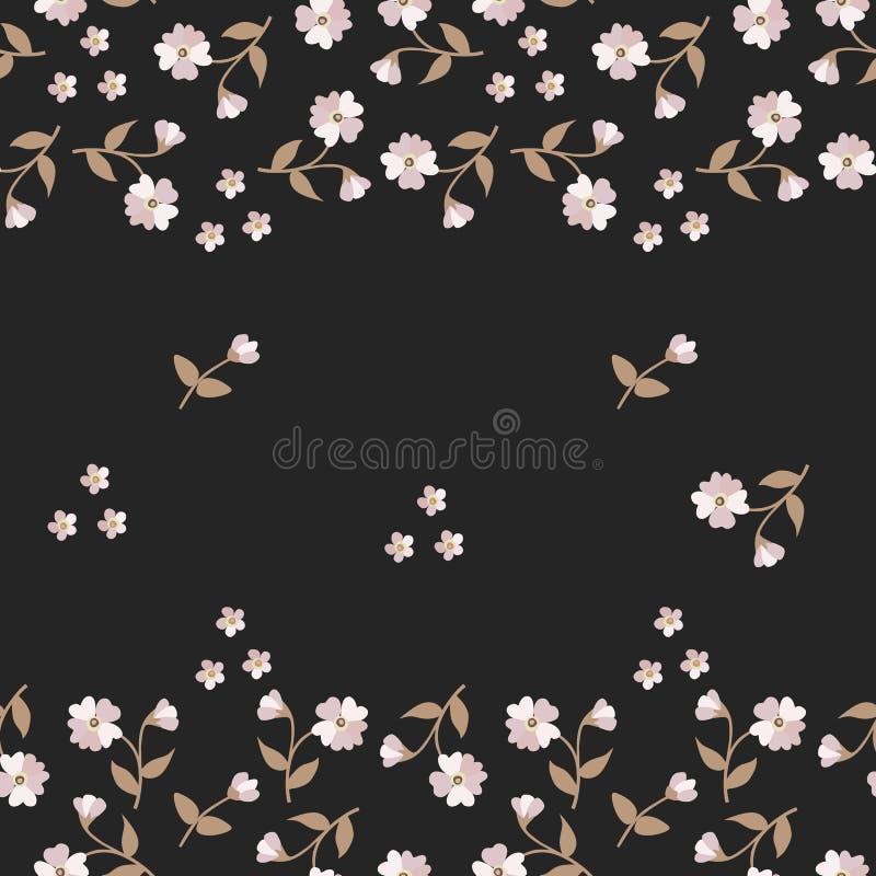 Sömlös blom- modell med mjuka mini- blommor och knoppar som isoleras på svart bakgrund vektor illustrationer