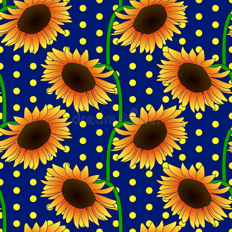 Sömlös blom- modell med orange solrosblommor stock illustrationer