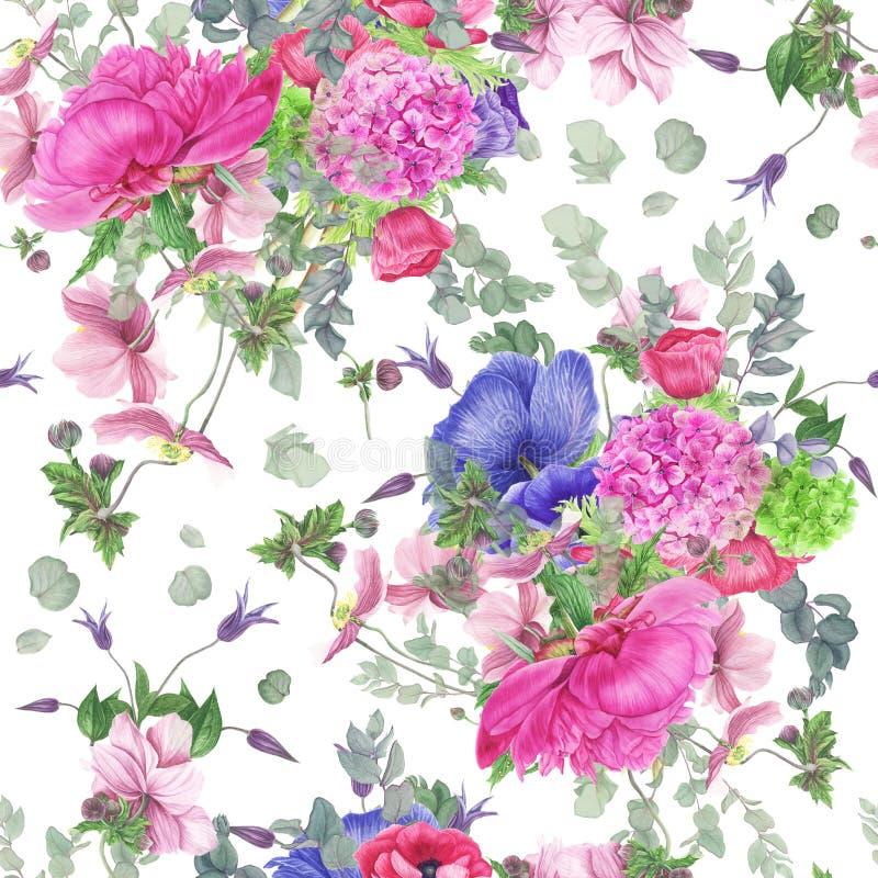 Sömlös blom- modell med pionen, anemoner, vanliga hortensian, eukalyptuns och sidor, vattenfärgmålning stock illustrationer