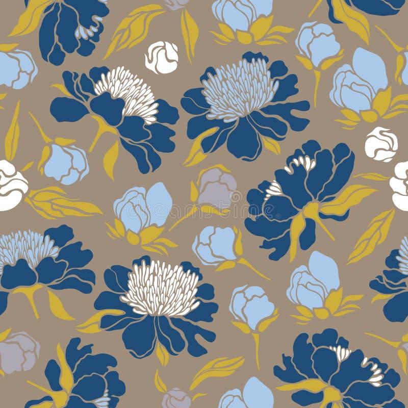 Sömlös blom- modell med pioner Textur med ängflora för yttersidor, papper, omslag, bakgrunder som scrapbooking stock illustrationer