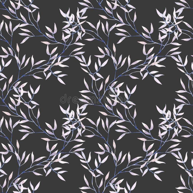 Sömlös blom- modell med purpurfärgade trädfilialer för vattenfärg royaltyfri illustrationer