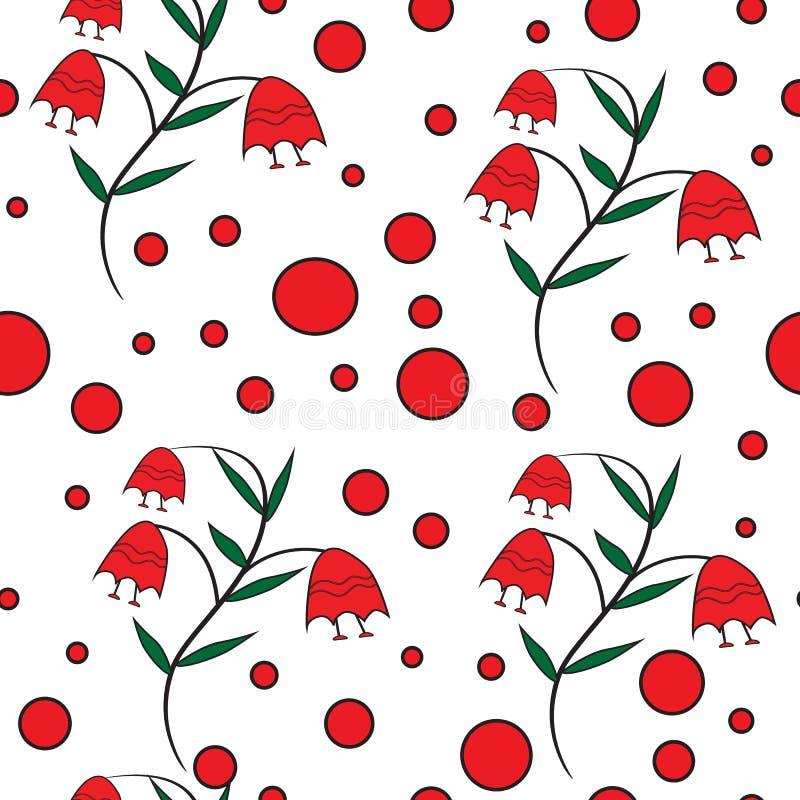 Sömlös blom- modell med röda klockor stock illustrationer