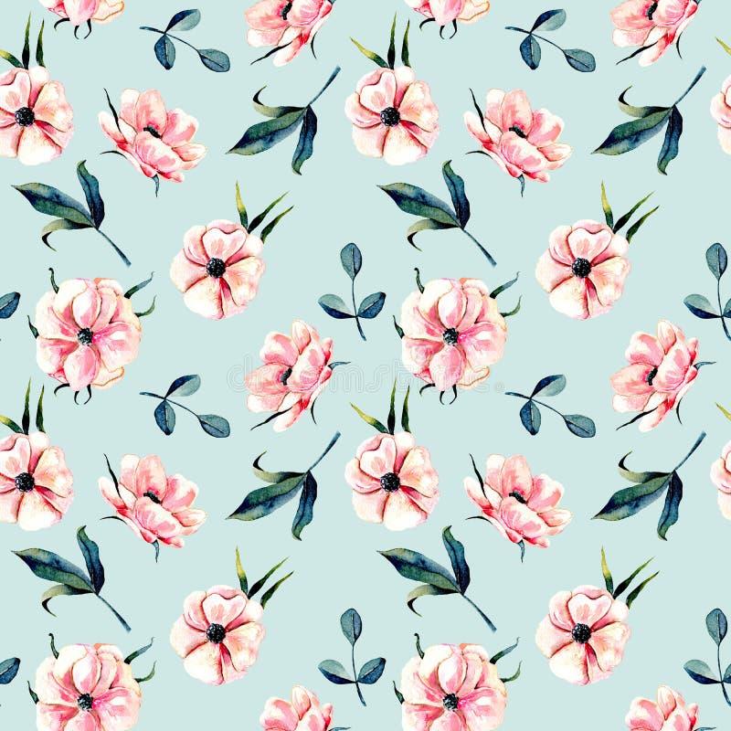 Sömlös blom- modell med rosa anemonblommor och gräsplansidor royaltyfri illustrationer