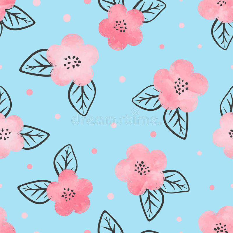 Sömlös blom- modell med rosa blommor för vattenfärg stock illustrationer