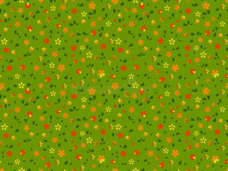 Sömlös blom- modell med sidor på grön bakgrund stock illustrationer