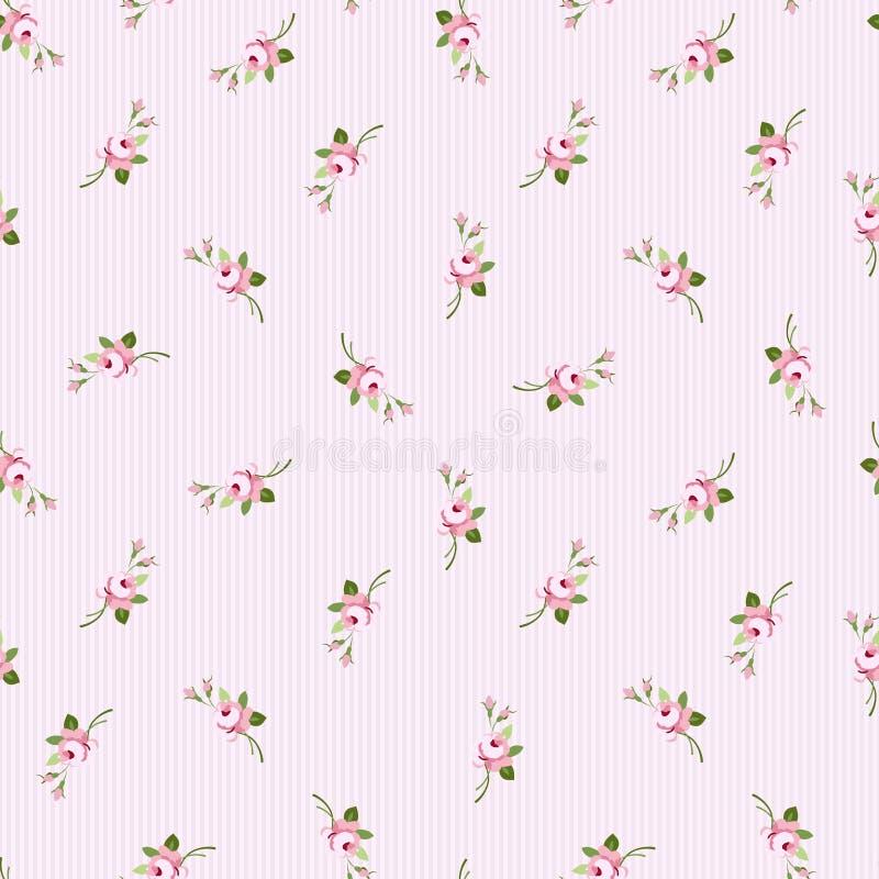 Sömlös blom- modell med små blommarosa färgrosor royaltyfri illustrationer