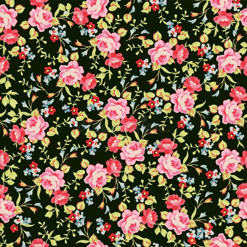 Sömlös blom- modell med små rosa rosor, på svart bakgrund royaltyfri illustrationer