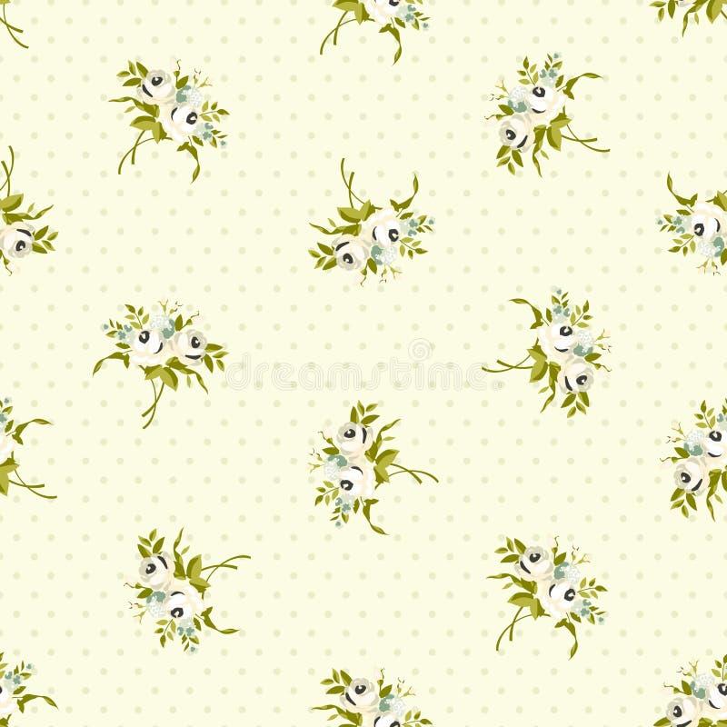 Sömlös blom- modell med små vita rosor royaltyfri illustrationer