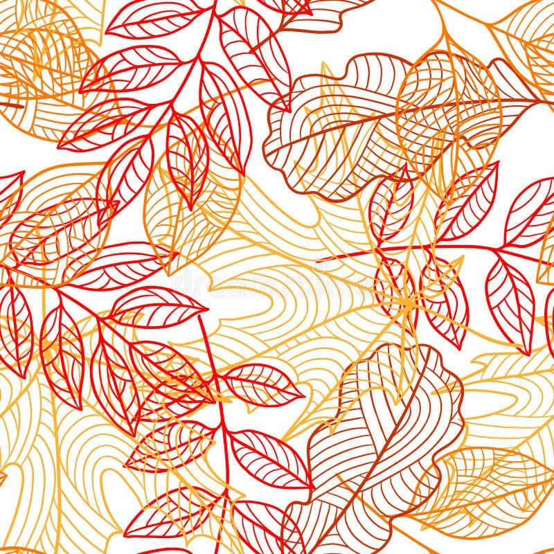 Sömlös blom- modell med stiliserad höstlövverk fallande leaves stock illustrationer