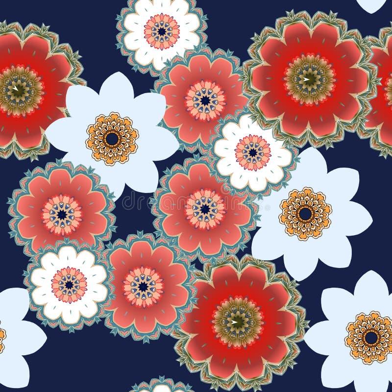 Sömlös blom- modell med stiliserade tusenskönor, vallmo och påskliljablommor royaltyfri illustrationer