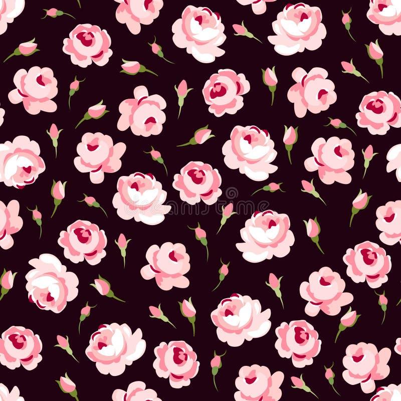 Sömlös blom- modell med stora och små rosa rosor royaltyfri illustrationer