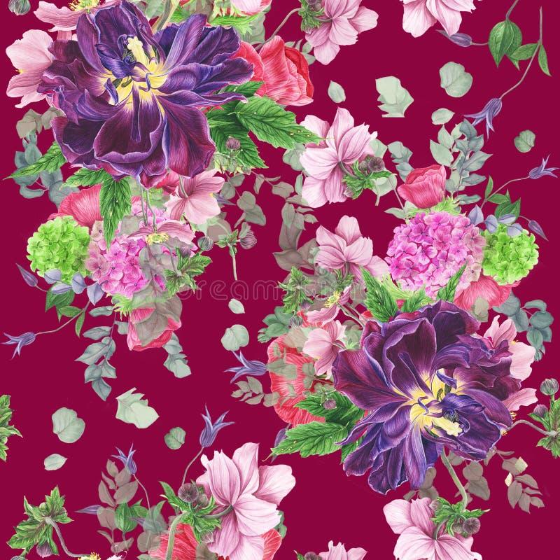 Sömlös blom- modell med tulpan, anemoner, vanliga hortensian, eukalyptuns och sidor, vattenfärgmålning vektor illustrationer