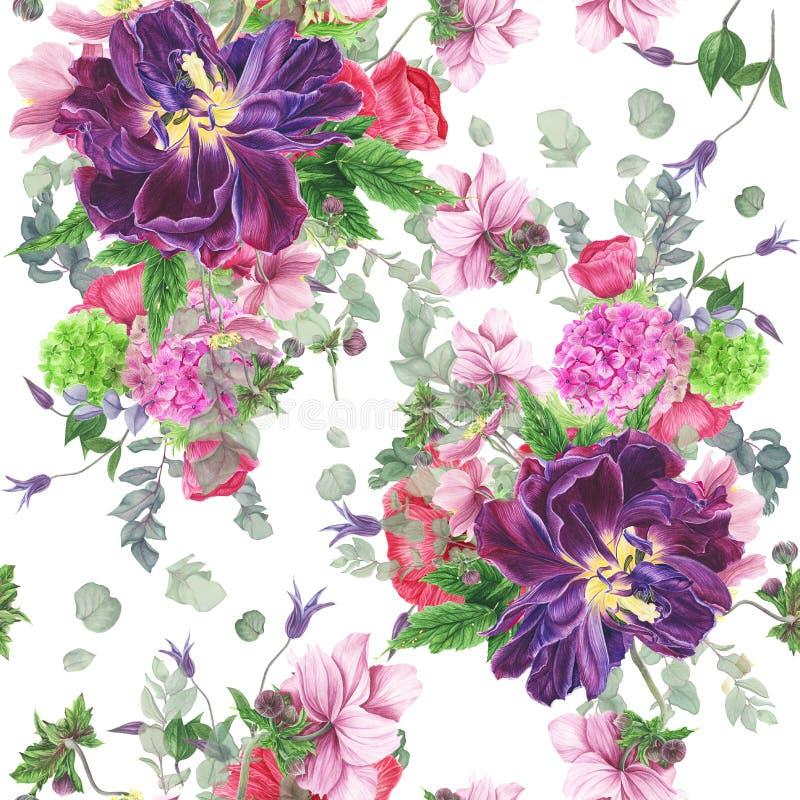 Sömlös blom- modell med tulpan, anemoner, vanliga hortensian, eukalyptuns och sidor, vattenfärgmålning royaltyfri illustrationer