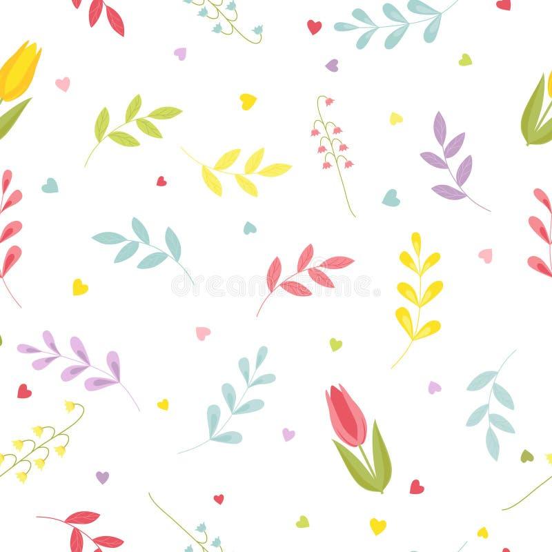 Sömlös blom- modell med tulpan, liljekonvaljer, hjärtor och sidor Gullig färgvektor vektor illustrationer