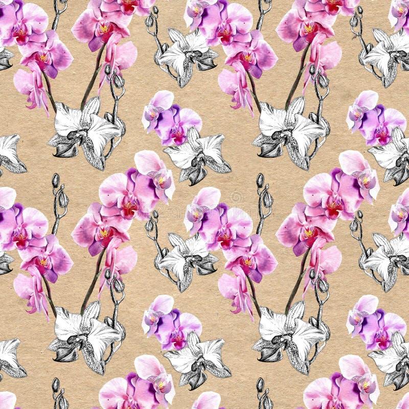 Sömlös blom- modell med utdragna orkidér för hand på pappers- texturerad bakgrund stock illustrationer