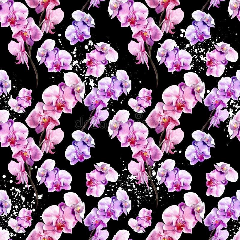 Sömlös blom- modell med utdragna orkidér för hand på svart bakgrund royaltyfri illustrationer