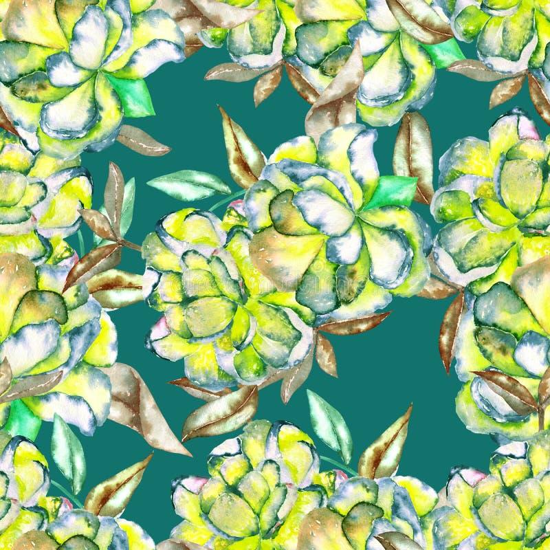 Sömlös blom- modell med vattenfärggräsplanen och de gula exotiska blommorna och bruntsidorna royaltyfri illustrationer
