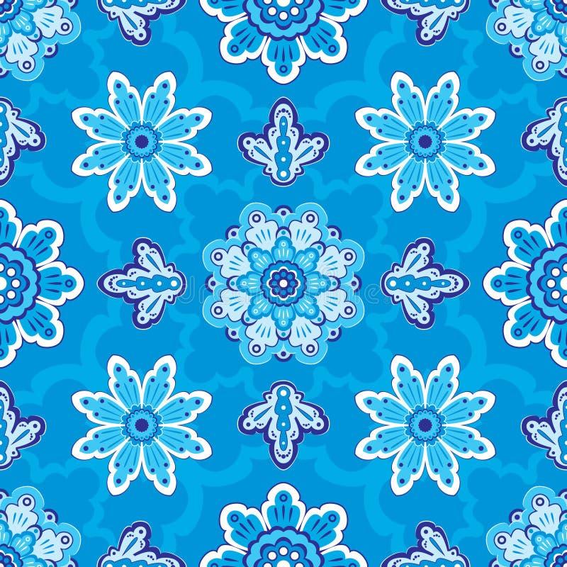 Sömlös blom- modell på en blå bakgrund arkivfoton
