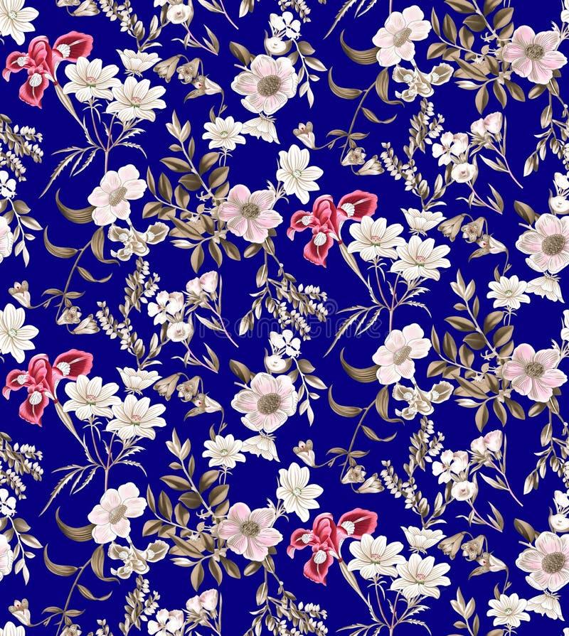 Sömlös blom- modell på marinbakgrund stock illustrationer