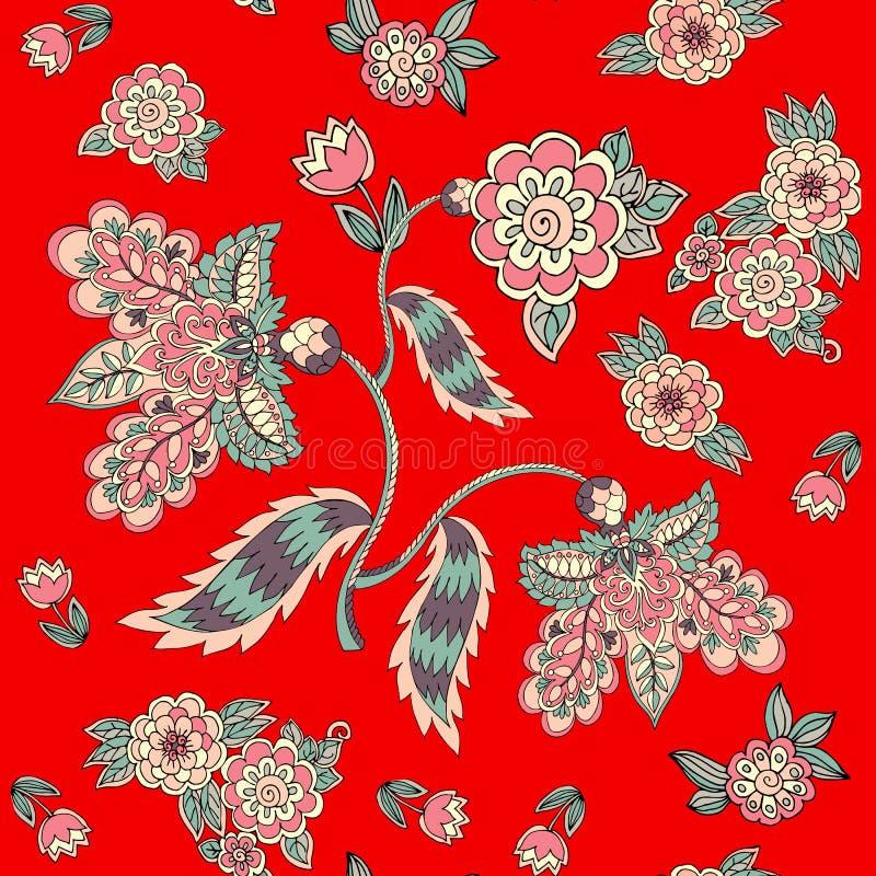 Sömlös blom- modell på röd bakgrund Tryck för tyg med magiska blommor och sidor designen blommar krypsommarvektorn vektor illustrationer