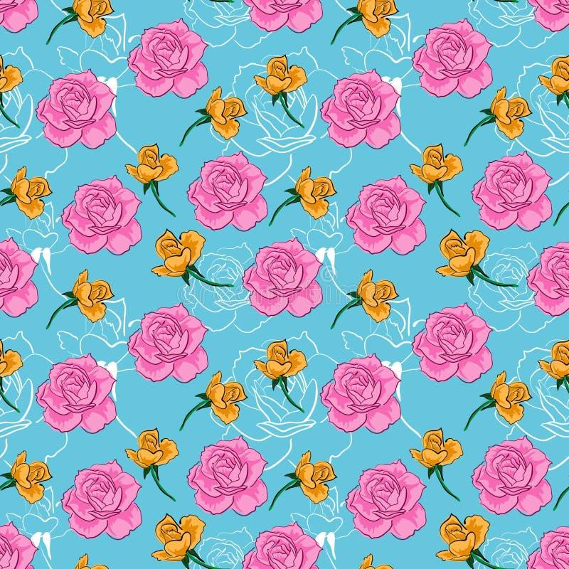 Sömlös blom- modell, passande som appliceras för pappers- tryck, textiltorkdukemotiv etc. ge intrycket av elegans vektor illustrationer
