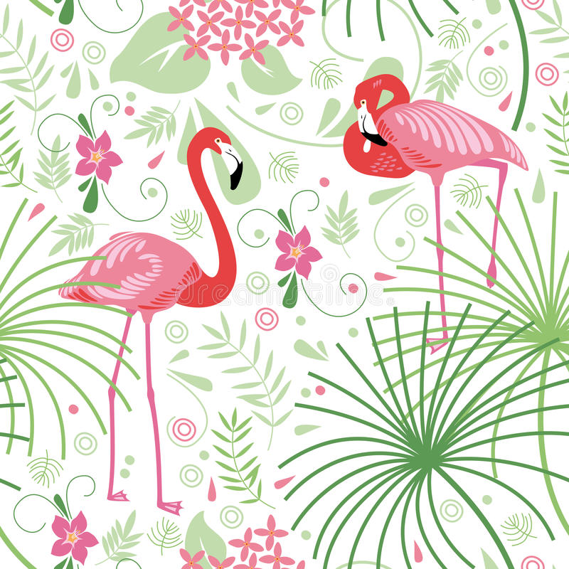 Sömlös blom- modell, rosa flamingo royaltyfri illustrationer