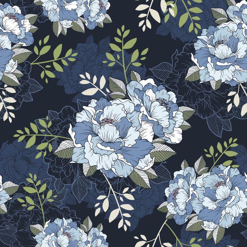 Sömlös blom- modellbakgrund för elegant pion stock illustrationer