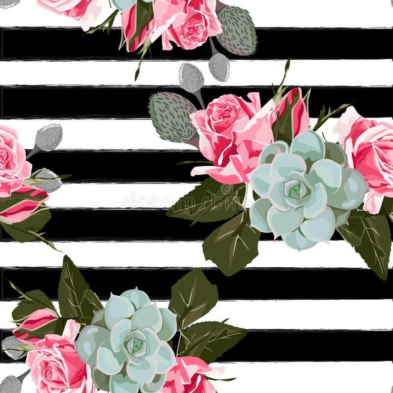 Sömlös blom- modellbakgrund för härlig trendig vektor Rosa rosblomma med den gröna suckulenten vektor illustrationer