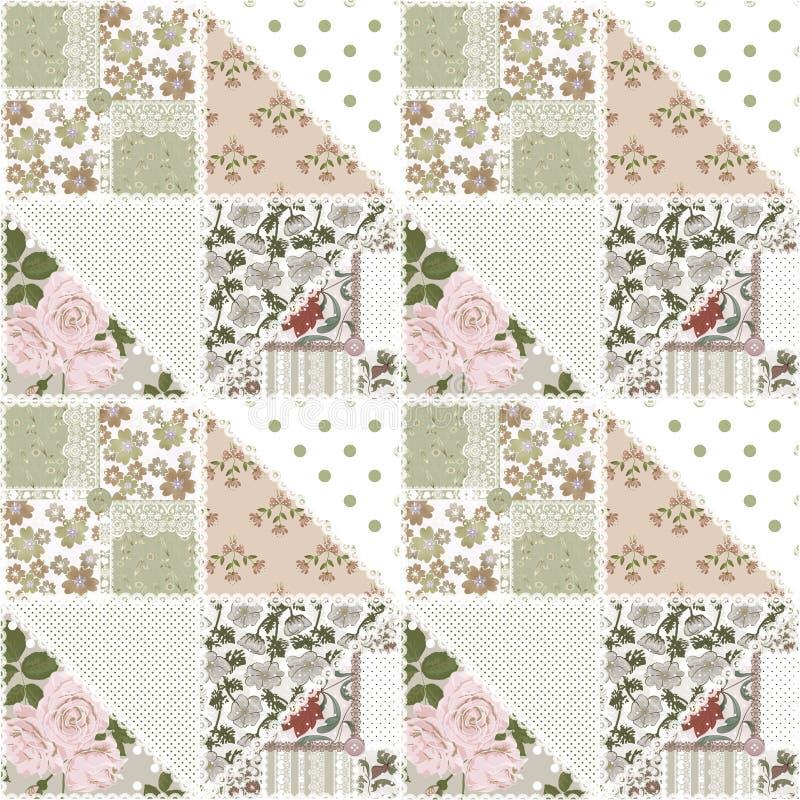 Sömlös blom- modellbakgrund för patchwork royaltyfri illustrationer
