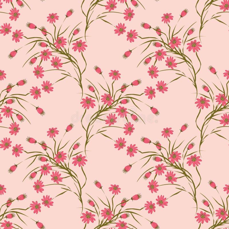 Sömlös blom- modellbakgrund, röda blommor på en beige bakgrund vektor illustrationer