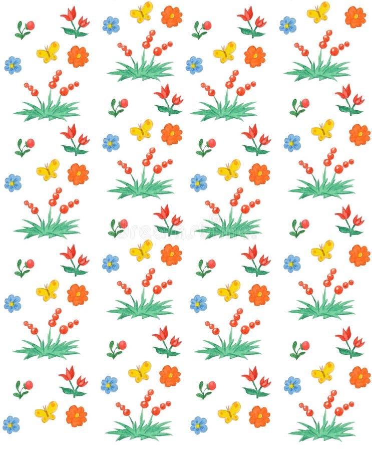 Sömlös blom- och bärmodell Vattenfärgbarns stil vektor illustrationer