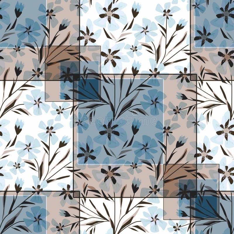 Sömlös blom- patchwork i pastellfärgade färger stock illustrationer