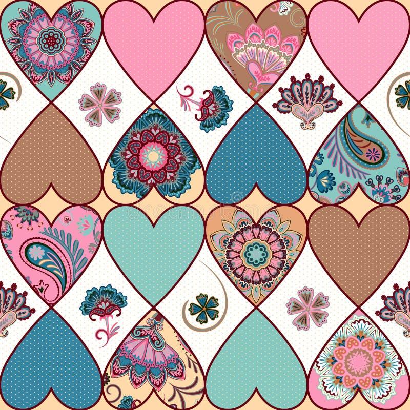 Sömlös blom- patchworkmodell med hjärtor och mandalasbakgrund vektor stock illustrationer