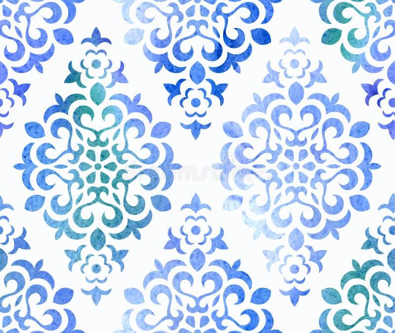 Sömlös blom- prydnad för vattenfärg vektor stock illustrationer