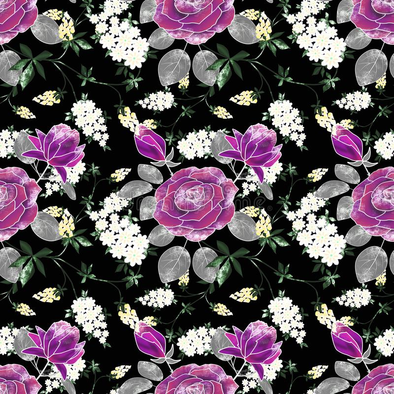Sömlös blom- retro modell med lila rosor, vita blommor på svart stock illustrationer