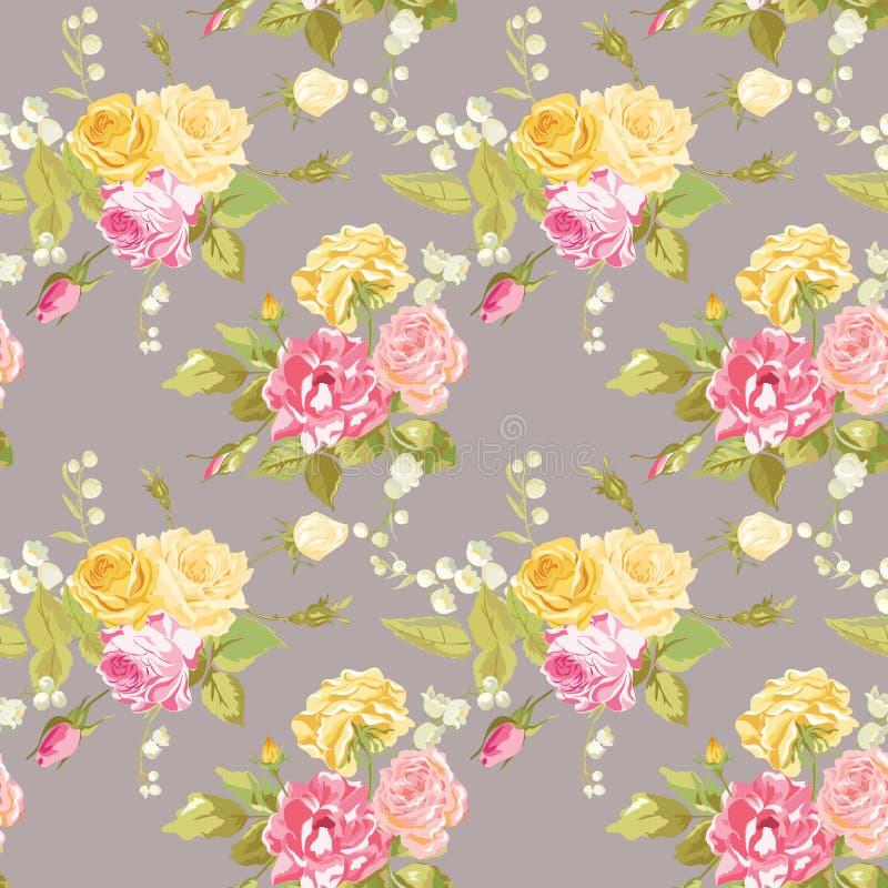 Sömlös blom- sjaskig chic bakgrund royaltyfri illustrationer