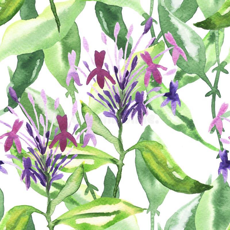 Sömlös blom- vattenfärgprydnad royaltyfri illustrationer
