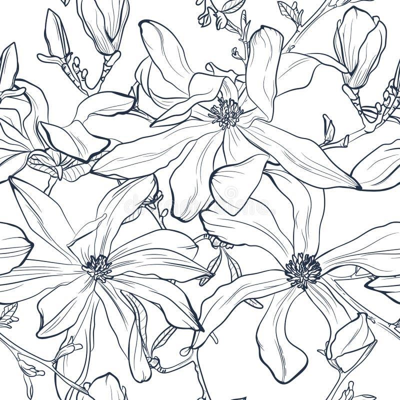 Sömlös blom- vektormodell med magnoliablomningen Stiliserad tappning royaltyfri illustrationer