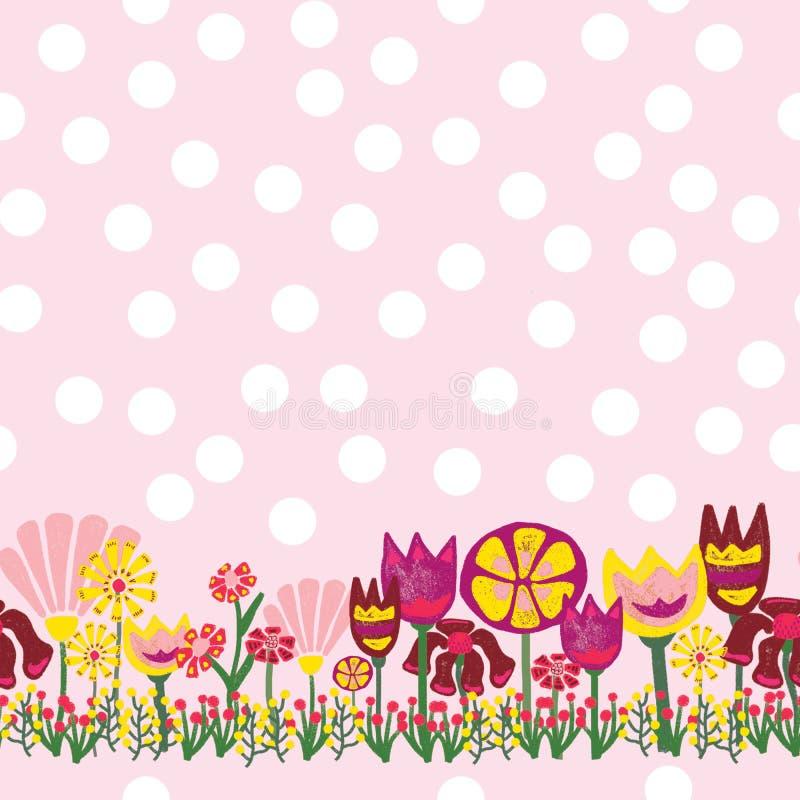 Sömlös blommagräns Gräns för modell för prick för Flowder äng purpurfärgad gul röd grön vit stock illustrationer